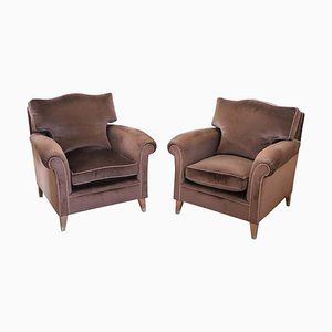 Vintage Brown Velvet Lounge Chairs, 1980s, Set of 2
