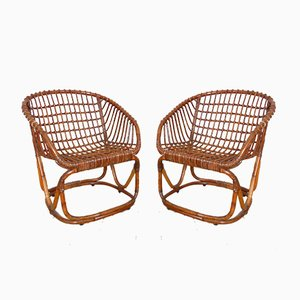 Rattan Chairs by Tito Agnoli for Pierantonio Bonacina, 1950s, Set of 2