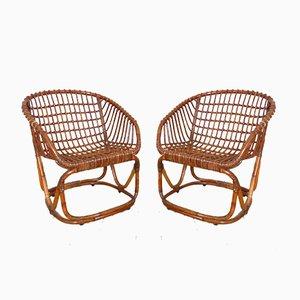 Rattan Stühle von Tito Agnoli für Pierantonio Bonacina, 1950er, 2er Set