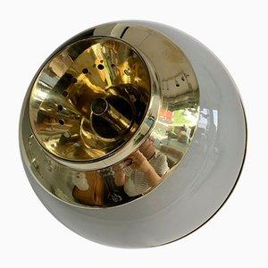 Italian Brass and Glass Azucena Sconces by Luigi Caccia Dominioni, 1970s, Set of 2