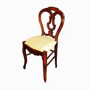 Leier Beistellstühle aus Nussholz, 19. Jh., 4er Set
