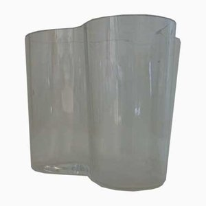 Vintage Clear Glass Savoy Vase by Alvar Aalto for Iittala