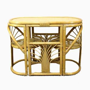 Bamboo and Rattan Game Table & Chairs Set, 1970s