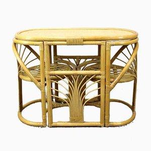 Spieltisch & Stühle aus Bambus & Rattan, 1970er