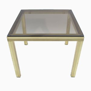Hollywood Regency Golden Brass and Smoked Glass Coffee Table, 1970s