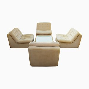 Modular Beige Corduroy Living Room Set, 1970s