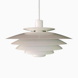 Lámpara colgante danesa grande multicapa en blanco de Form-Light, años 80