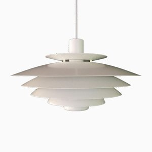 Large Danish White Multi Layered Pendant Lamp from Form-Light, 1980s