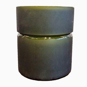 Scatola per sigarette in vetro di Murano satinato verde oliva e vetro di Murano bianco di Vistosi, anni '60