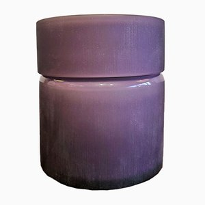 Frosted Amethyst and White Cased Murano Glass Box from Vistosi, 1960s