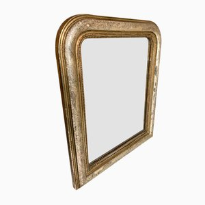 19th Century Louis Philippe Engraved Decor Mirror with Gold Leaf