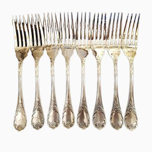 Silver Model Marly Fish Forks from Christofle, 1980s, Set of 8