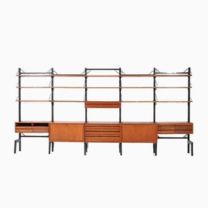 Large Mid-Century Free Standing Modular Wall Unit by Poul Cadovius for Cado, 1960s
