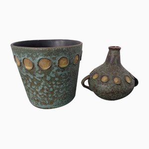 Toscana Ceramic Vase and Cachepot by Hans Welling for Ceramano, 1960s, Set of 2