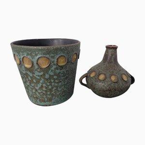 Toscana Keramik Vase und Übertopf von Hans Welling für Ceramano, 1960er, 2er Set
