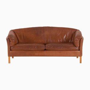 Vintage Cognac Leather 2.5-Seater Sofa from Mogens Hansen, 1970s