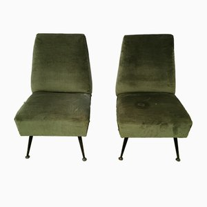 Mid-Century Italian Green Velvet, Metal, and Brass Lounge Chairs, 1960s, Set of 2