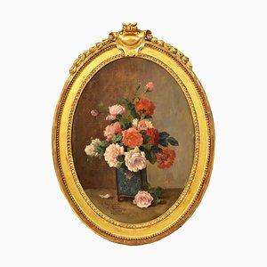 Peinture à l'Huile Roses Art Déco par Louis Émile Minet, 1921