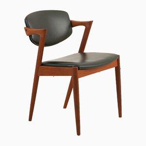 Chaise de Salon Modèle 42 en Teck et Cuir Vert Foncé par Kai Kristiansen pour Schou Andersen, 1960s