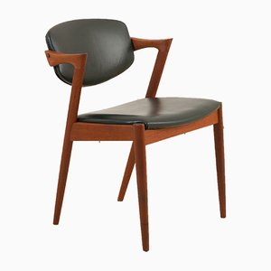 Teak and Dark Green Leather Model 42 Dining Chair by Kai Kristiansen for Schou Andersen, 1960s