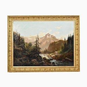 Pintura de paisaje de montaña Shepherd and Flock Mountain, siglo XIX de Godchaux Emile