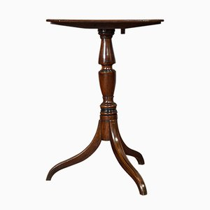 Antique Regency English Flame Mahogany Tripod Side Table, 1820s