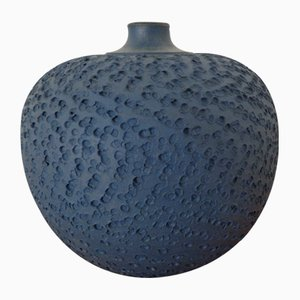 Bauhaus Blue Studio Ceramic Vase by Heiner Hans Körting, 1940s