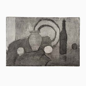 Mid-Century Danish Charcoal Drawing Unframed