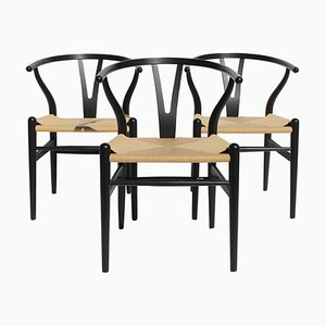 Wishbone Model CH24 Chairs by Hans J. Wegner for Carl Hansen & Søn, 1970s, Set of 3