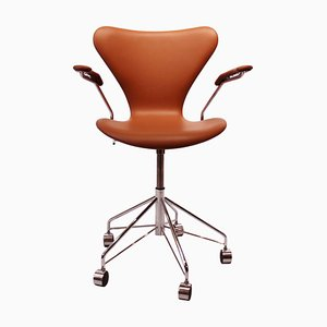 Model 3217 Office Chair in Cognac Leather by Arne Jacobsen for Fritz Hansen, 1980s