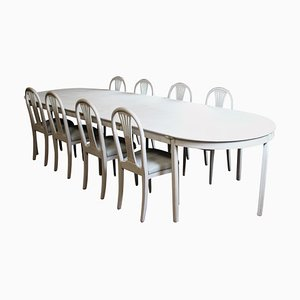 Gustavian Grey Painted Dining Table & Chairs Set, Set of 9