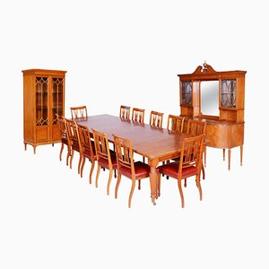 19th Century British Satin Wood Dining Room Set with 12 Chairs from Maple & Co.