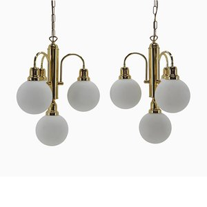 Mid-Century Brass and Glass Chandeliers, Czechoslovakia, 1960s, Set of 2