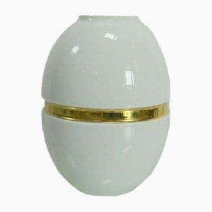 Vintage White Porcelain & Gold Vase from Gerold Porzellan, 1950s