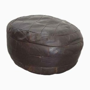 Vintage Brown Leather Patchwork Ottoman