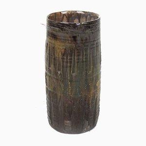 Vase mit geschnitzten Streifen und Erdtönen, 1960er