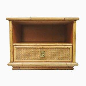 Mueble auxiliar Mid-Century de bambú, mimbre y ratán de Dal Vera, Italy, años 60