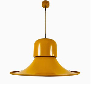 Large Yellow Metal Hanging Lamp by Joe Colombo for Stilnovo, Italy, 1950s