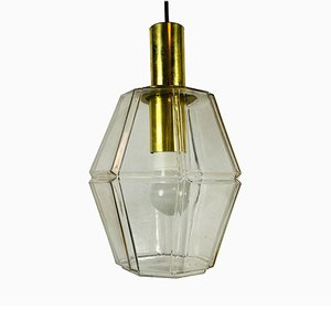 Mid-Century Brass and Glass Pendant Lamp from Glashütte Limburg, 1960s