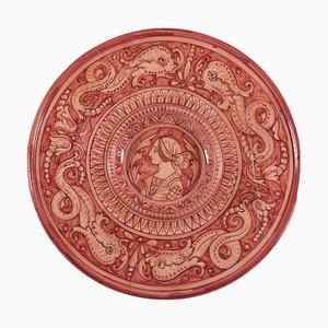 Piatto Gubbio vintage decorato in ceramica, Italia