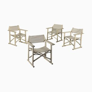 Italian Wood & Fabric Chairs from Reguitti, 1960s, Set of 4