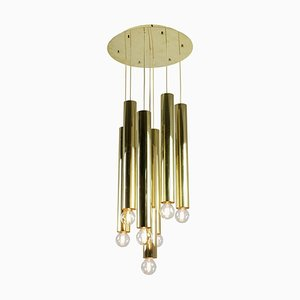 Chandelier with 7-Lights in Gilt Brass, 1970s