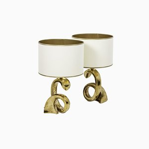 Swirl Lamps in Gilt Bronze, 1970s, Set of 2