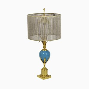 Lamp in Turquoise Opaline and Gilt Bronze, 1970s