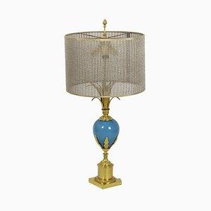 Lampe aus türkisem Opalglas und vergoldeter Bronze, 1970er