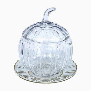 Vintage Kürbis-Halloween-Bowle aus geschliffenem Glas