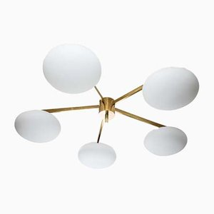 Glass and Brass Flush Mount Star Ceiling Lamp, 2009