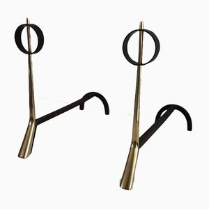 Italian Modernist Bronze and Wrought Iron Andirons, 1950s, Set of 2