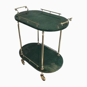 Italian Goatskin and Gilt Metal Drinks Trolley by Aldo Tura, 1960s
