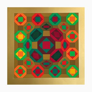 Geometric Structure Gold by Victor Vasarely, 1975